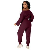 Fashion Solid Pit Oblique Shoulder Drawstring Women Two Piece Matching Sets