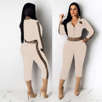 Casual Beige Women's Zip Print Blouse and Trousers