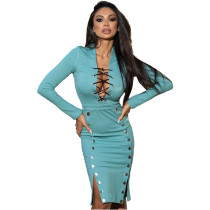 Fall Sexy Light Blue V-neck Lace-up Double-breasted  Clothes Midi Dress