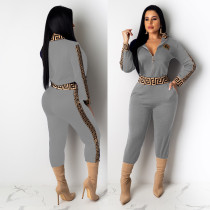 Casual Grey Women's Zip Print Blouse and Trousers
