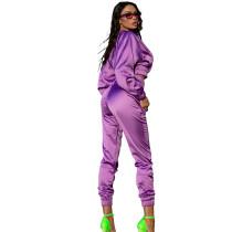Solid Color Purple Women Apparel Clothing Mercerized Cotton Zipper Sportswear Two Piece Outfits