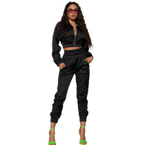 Solid Color Black Women Apparel Clothing Mercerized Cotton Zipper Sportswear Two Piece Outfits