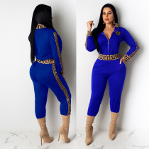 Casual Blue Women's Zip Print Blouse and Trousers