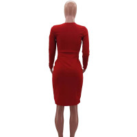 Fall Sexy Red V-neck Lace-up Double-breasted  Clothes Midi Dress