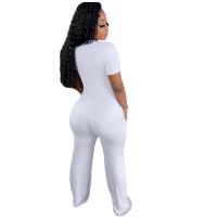 Casual White Short Sleeve Stitching V-neck Pocket Wide-leg Jumpsuit