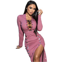 Fall Sexy Pink V-neck Lace-up Double-breasted  Clothes Midi Dress