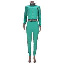 Casual Light Blue Women's Zip Print Blouse and Trousers