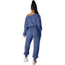 Fashion Solid Peacock Blue Pit Oblique Shoulder Drawstring Women Two Piece Matching Sets