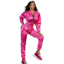Solid Color Pink Women Apparel Clothing Mercerized Cotton Zipper Sportswear Two Piece Outfits