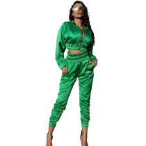 Solid Color Fluorescent Green Women Apparel Clothing Mercerized Cotton Zipper Sportswear Two Piece Outfits