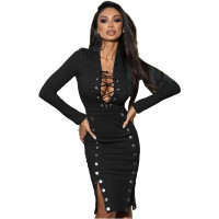 Fall Sexy Black V-neck Lace-up Double-breasted  Clothes Midi Dress