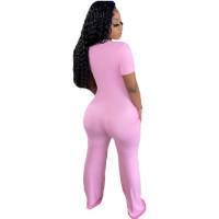Casual Pink Short Sleeve Stitching V-neck Pocket Wide-leg Jumpsuit