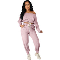 Fashion Solid Pink Pit Oblique Shoulder Drawstring Women Two Piece Matching Sets