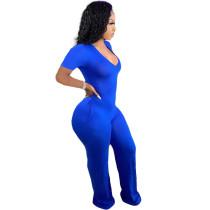 Casual Blue Short Sleeve Stitching V-neck Pocket Wide-leg Jumpsuit