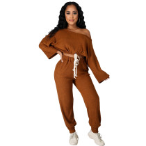 Fashion Solid Coffee Pit Oblique Shoulder Drawstring Women Two Piece Matching Sets