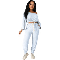 Fashion Solid White Pit Oblique Shoulder Drawstring Women Two Piece Matching Sets