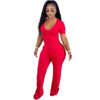 Casual Red Short Sleeve Stitching V-neck Pocket Wide-leg Jumpsuit