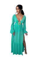 Pure Color Lake Blue Hollow Backless V Neck Irregular Maxi Dress