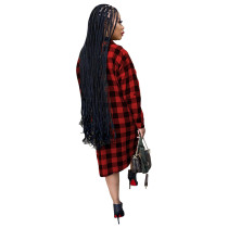 Red Long Sleeve Single-breasted Plaid Cardigan Outer Clothing