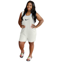 Solid Color White Printed High-waist Stitching Sleeveless Romper with Pockets