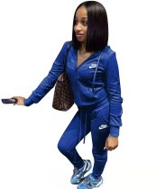 Casual Blue Sports Solid Color Korean Velvet Embroidery Sweatpants and Hoodie Set For Women