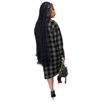 Black Long Sleeve Single-breasted Plaid Cardigan Outer Clothing