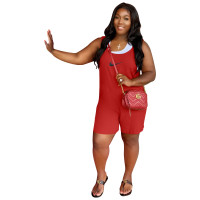 Solid Color Red Printed High-waist Stitching Sleeveless Romper with Pockets