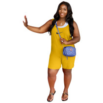Solid Color Yellow Printed High-waist Stitching Sleeveless Romper with Pockets