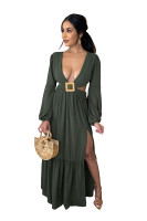 Pure Color Army Green Hollow Backless V Neck Irregular Maxi Dress