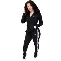Casual Black Sports Stitching Embroidered Letter Pants Set