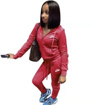 Casual Red Sports Solid Color Korean Velvet Embroidery Sweatpants and Hoodie Set For Women