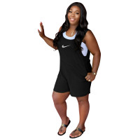 Solid Color Black Printed High-waist Stitching Sleeveless Romper with Pockets