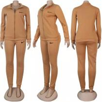 Solid Designer Clothes Printed Turn-down Neck Pant Set