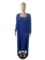 Solid Royal Blue Ribbed Striped Long Dress With Long Cardigan