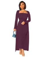 Solid Wine Red Ribbed Striped Long Dress With Long Cardigan