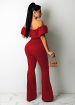Casual Ladies Red Ruffled Off Shoulder Jumpsuit