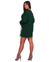 Casual Green Applique Lace-up Pullovers Club Dress For Fall Clothings