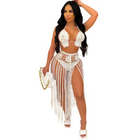 Summer White Weave Two Piece Fringed Beach Skirt Set