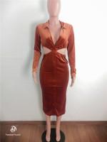 Orange Turndown Collar Cutout Bodycon Midi Dress