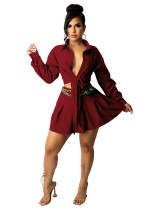 Fall Wine Red Long Sleeve Lace-up Pleated Skirt Office Set
