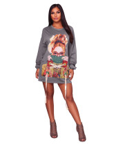 Casual Grey Applique Lace-up Pullovers Club Dress For Fall Clothings