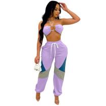 Light Purple Matching Halter Crop Top Two Piece Women Set