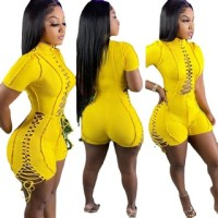 Casual Yellow Short Sleeve Pit Lace-up Romper