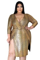 Fat Woman Clubwear Plus Size Glossy Bronzing V Neck Pit Split Dress