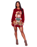 Casual Wine Red Applique Lace-up Pullovers Club Dress For Fall Clothings