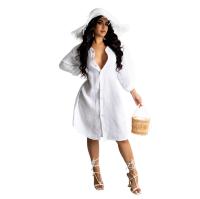 Loose White Cotton Linen Midi Shirt Dress