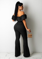 Casual Ladies Black Ruffled Off Shoulder Jumpsuit