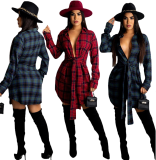 Casual Wine Red Turndown Neck Lace-up Plaid Shirt Dress