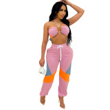 Pink Matching Halter Crop Top Two Piece Women Set