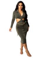 Army Green Turndown Collar Cutout Bodycon Midi Dress